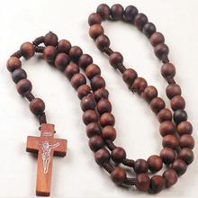 Retro Style Men Women Catholic Christ Wooden Rosary Bead Cross Pendant Woven Rope Necklace