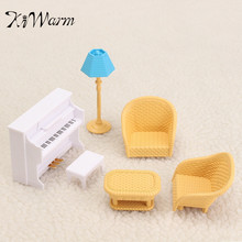 Sofa Piano Table Miniatures Furniture Ornaments Figurines Miniatures Doll House Home Decor Plastic Craft Toy Kids Christmas Gift