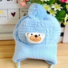 1 PC Infant Baby Boys Girls Cute Soft Crochet Bear Hats Toddler Beanies Warm Newborn Caps 4 Solid Colors(China)