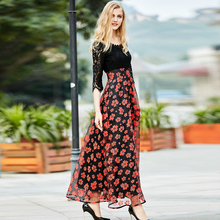 Lace New Dresses 2017 Early Spring Half Sleeve Patchwork Topshop Flowers Print Women Vingtage Elegant Beautiful Dress