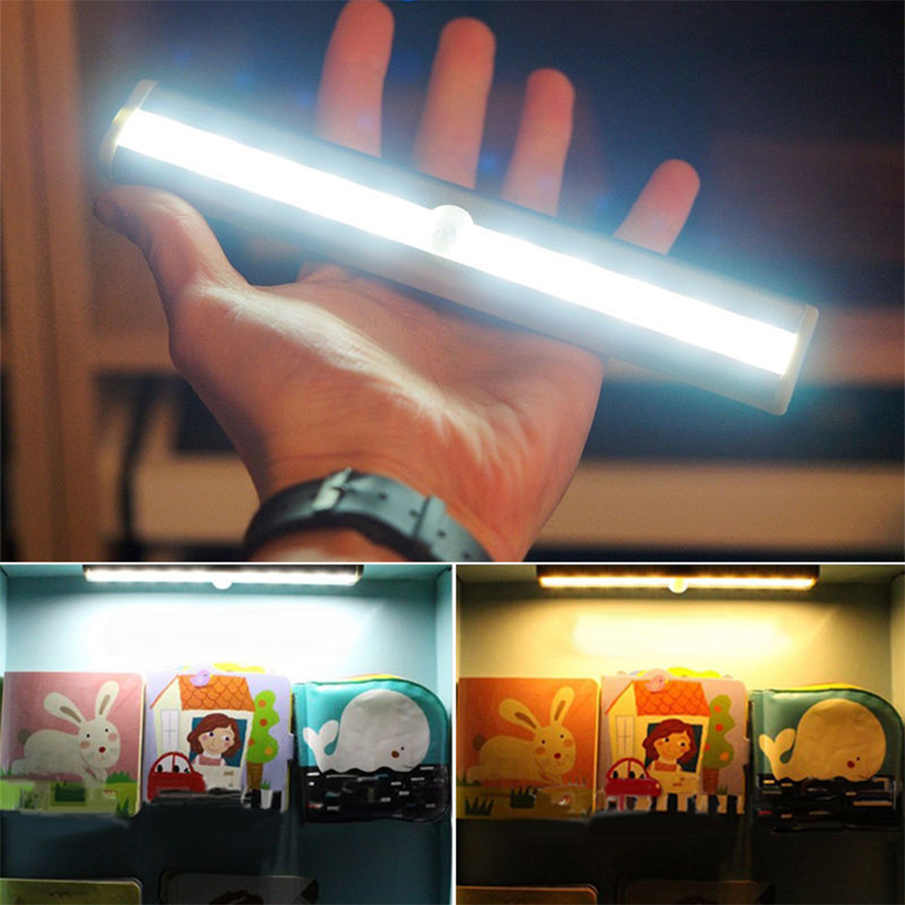 10leds Rechargeable PIR Motion Sensor LED Night Light Lamp With For Hallway Pathway Staircase Magnetic Strip Wall Lighting<br><br>Aliexpress