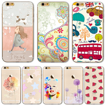 6+/6S+ 5.5''Soft TPU Case Cover For Apple iPhone 6Plus 6S + Cases Colour Balloon Flowers Artistic Eyes Cactus Best Choice
