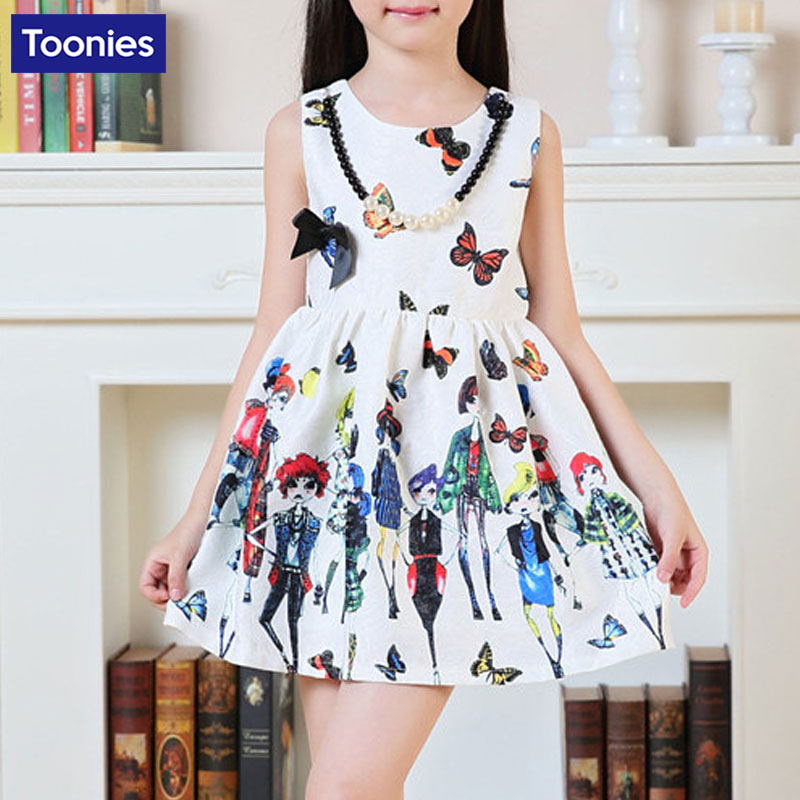 Summer Girls Vest Dress A-line Princess Elegant Children Clothing Birthday School Costume Butterfly Print Graffiti Clothing<br><br>Aliexpress