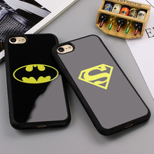 Fashion Batman Superman Phone Cover for iPhone 7 6 6s Plus 5 5s SE Cases Silicone Mirror Case for iPhone 6 6s 7 Plus Phone Shell
