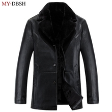 Buy New 2018 Men's Leather Jacket High Leather Jacket Men Thick Fur Collar Jaqueta Couro Masculino Business Casual Warm Coat for $69.99 in AliExpress store
