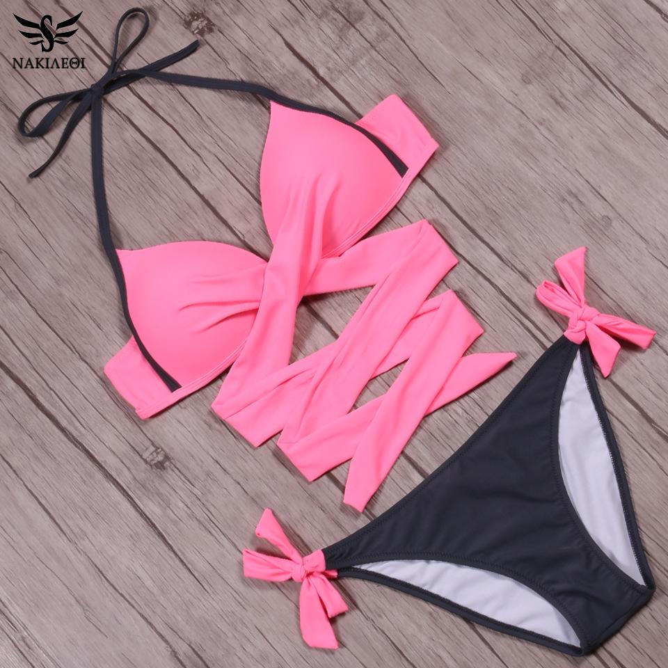 NAKIAEOI 19 Sexy Bikini Women Swimsuit Push Up Swimwear Criss Cross Bandage Halter Bikini Set Beach Bathing Suit Swim Wear XXL 38
