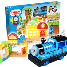 77pcs Electric Thomas Trains New Sets Manor Model Building boys Bricks With Rail Kids Toys compitable with Lego Duplo
