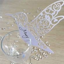 50pcs Place Name Card Heart Glass Wedding Cards Party Birthday Festive Event Table Goblet Decoration Supplies Decorative Crafts