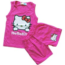 New arrival fashion cute hello kitty children clothing sleeveless T-shirt +pants children kids suit kids clothes