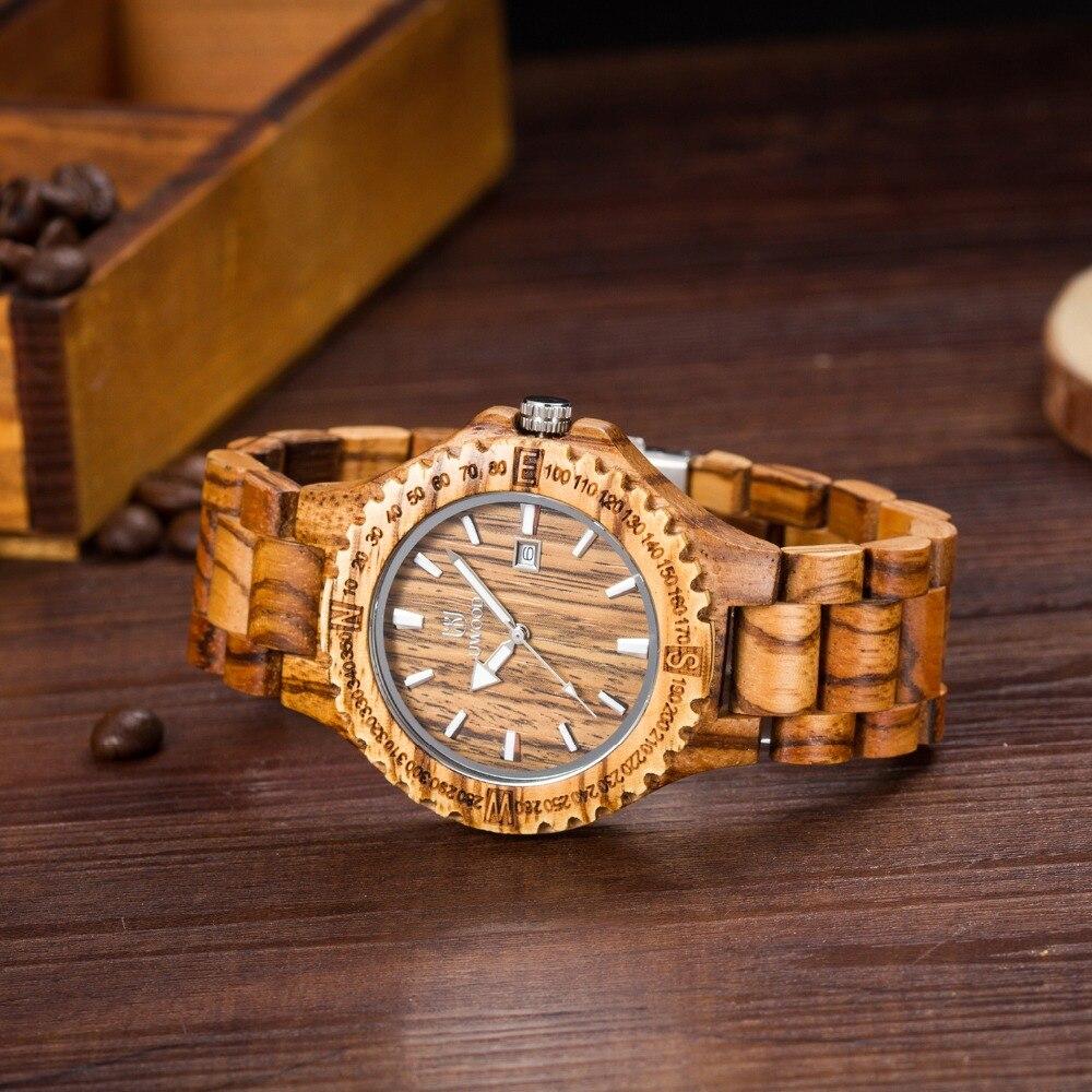 UWOOD Dress Quartz Watches Men Natural Eco Wooden Japan Movement Casual Man Clock Auto Calendar Butterfly Buckle<br><br>Aliexpress