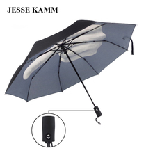 2016 New arrive fashion popular  Middle Finger Gifts Windproof three Folding compact strong frame double canopy big umbrellas