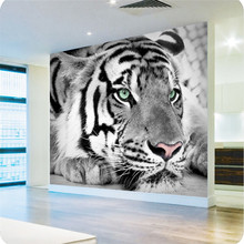 Custom High quality wallpaper for living room Tiger black white animal entrance bedroom sofa  background wall mural wall paper