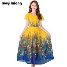 Buy Luoyifxiong 2018 Women Summer Dress Casual Short Sleeve Women Clothing Fashion Printed Chiffon Dress Vintage Slim Long Dresses for $20.98 in AliExpress store