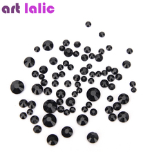 Black Glass Crystal Rhinestones Mix Sizes Nail Art Stones Strass Foil Back For Nail Diamonds Glitter Charms Decoration Tips(China)
