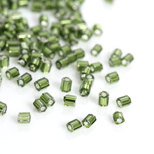 DoreenBeads Japanese Glass Seed Beads Hexagon Green silver color center About 2mm,Hole:0.8mm,10 Grams(About 140 PCs/Gram)(China)