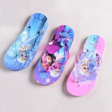 Retail New Cartoon Shoes Snow Queen Baby Girl Boys Thong Sandals Elsa Anna Thomas Slippers Kids Summer Beach Shoes Flip Flops