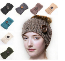 DHL/fedex free Wholesale large buttons women crochet outdoors in winter to keep warm earmuffs wool knitting headband 100 pcs/lot