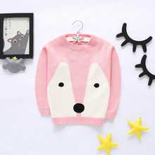 Baby Girl Knit Sweaters 2017 New Spring/Autumn Crochet Pullovers Tops Fox Patterns Coat Toddler Kids Bottoming Sweater