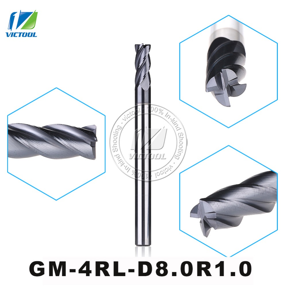 GM-4RL-D8.0R1.0 Cemented Carbide 4-Flute R End Mills Straight And long Shank Milling Cutter Metal Drill Bits Cutting Tools<br><br>Aliexpress