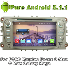 "7"" 2 din Quad Core Android 5.1.1 Car DVD Silver Color For FORD S-MAX FOCUS MONDEO Galaxy Kuga C-Max with GPS Car Radio Bluetooth"