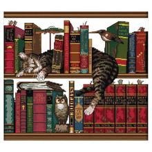 DIY Handmade Needlework Counted Cross Stitch Set Embroidery Kit 14CT Cat On Bookshelf Pattern Stitching 40 36cm Home D