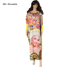 Mr Hunkle New Casual Print Dresses Long Sleeve Pattern Beauty Face Leopard Women Maxi Dress Vestidos African Style Loose Dress