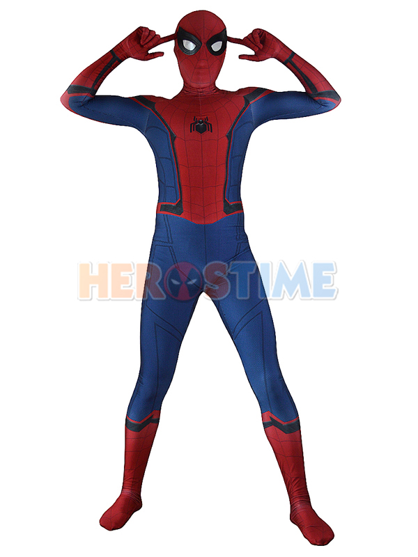 Homecoming Spiderman Costume New Movie Spiderman Cosplay Zentai Suit Hot Sale Superhero Spandex Catsuit Aduit/Kids Free Shipping