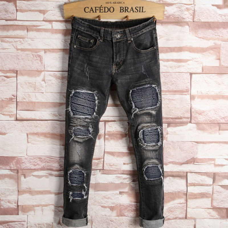 Western Fashion Men Balck Jeans casual brand designer patchwork stripe straight denim trousers classic slim ripped jeans for menОдежда и ак�е��уары<br><br><br>Aliexpress