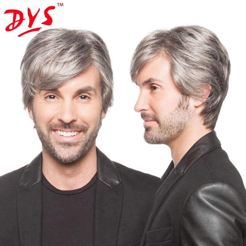 Dys Short Curly Wavy Men Wigs For Men Gray Natural Hair Sassy Pixie Cut Toupee Mens hairpiece Perruque Cosplay wig Kanekalon<br><br>Aliexpress