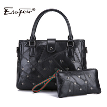 ESUFEIR Brand Genuine Leather Women Handbag Composite Bag Sheepskin Rivet Patchwork Women Shoulder Bag Fashion Crossbody Bag