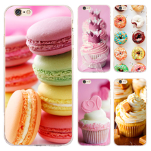 Coque Macarons Cupcake Transparent Soft TPU Silicone Phone Cases for iphone 7 7Plus Case for iPhone 5S 5 SE 6 6S 6Plus 4S Cover.