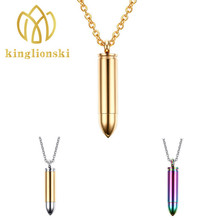 Necklace 2016 new men's fashion jewelry bullet pendant wind jewelry can be engraved Necklaces & Pendants
