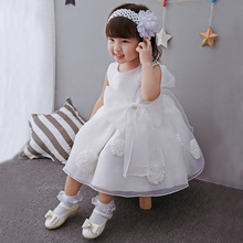 Newborn Baby Girls Angel White Dress Infant Evening Birthday Party Wear Clothing Toddler Flower Girls Christening Ball Gown 0-2Y