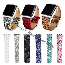 Christmas Shiny Glitter Power PU Leather Bling Luxury Iwatch Band Wristwatch Bracelet Strap Belt for Apple Watch 38mm 42mm