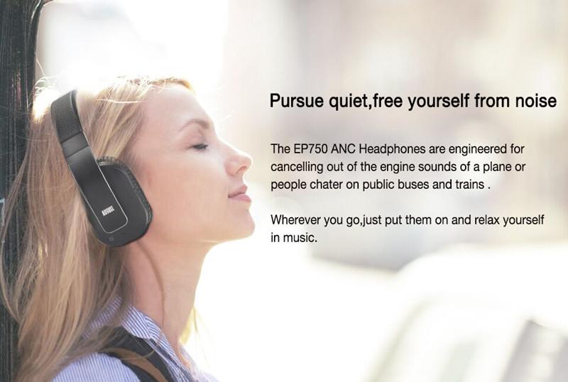 August EP750 Wireless Bluetooth Headphones Active Noise Recdution