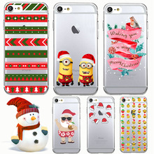Christmas Socks Santa Claus Tree Cute Small Yellow People Soft TPU Thin Shell Phone Cover Case for iPhone 7 Plus 6S 6Plus 6 5 SE