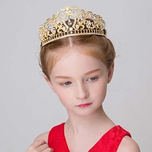 Princess Girls Clear Stone Big Crown Tiara Crystal Party Banquet Head Jewelry Hairbands Accessories