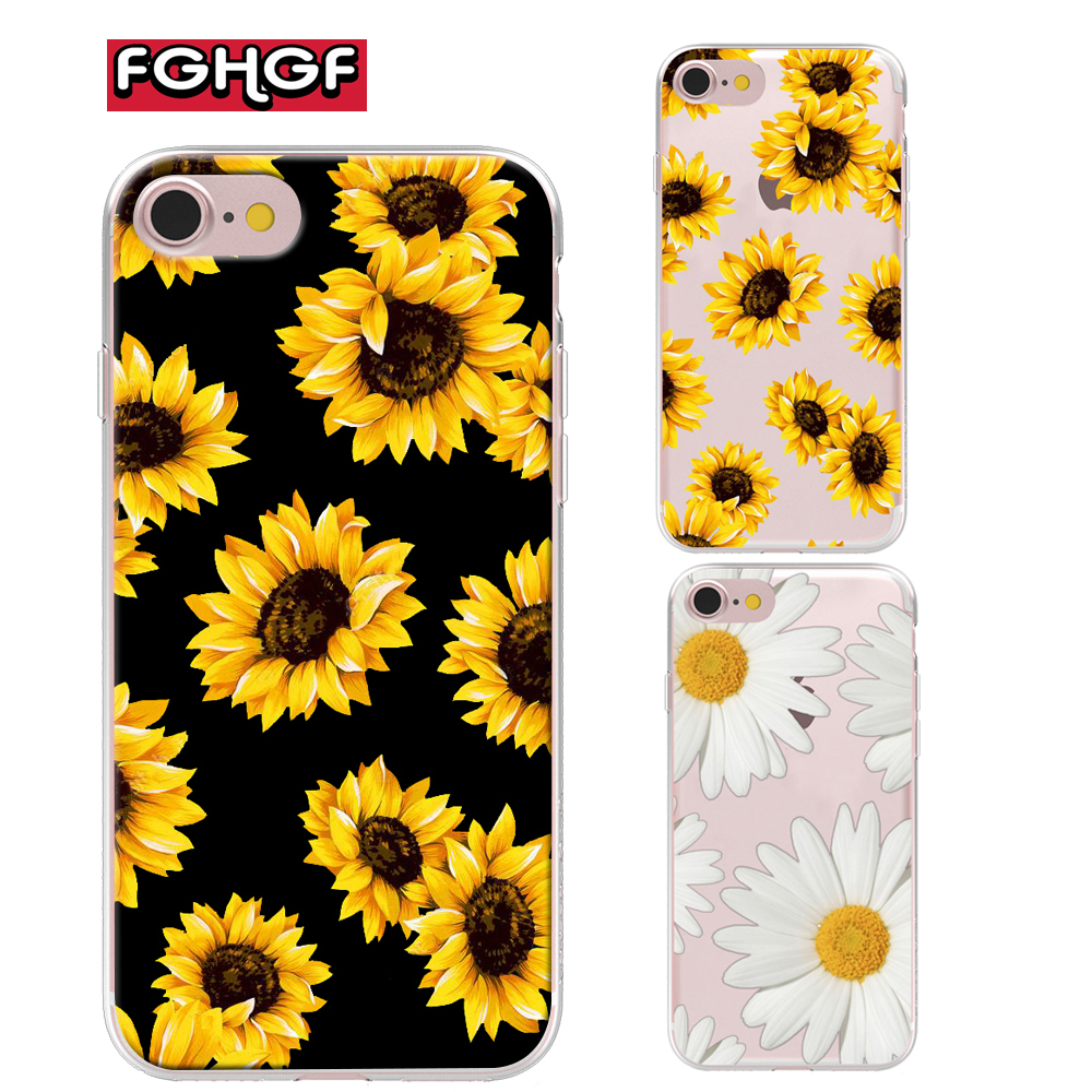Cute Summer Daisy Sunflower Floral Flower Soft Clear Phone Case Fundas Coque For iPhone 7 7Plus 6 6S 6Plus 8 8PLUS X 5 5s case(China)