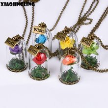 XIAOJINGLING Vintage Bronze Wish Glass Bottle Pendant Dried Rose Flower 3D Real Necklace Long Sweater Chain Necklaces For Women(China)