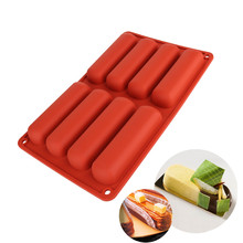QianYi cake tools Silicone Classic Collection Shapes finger Orange Non Stick Eclair 8 Forms Silicone Baking Mold(China)
