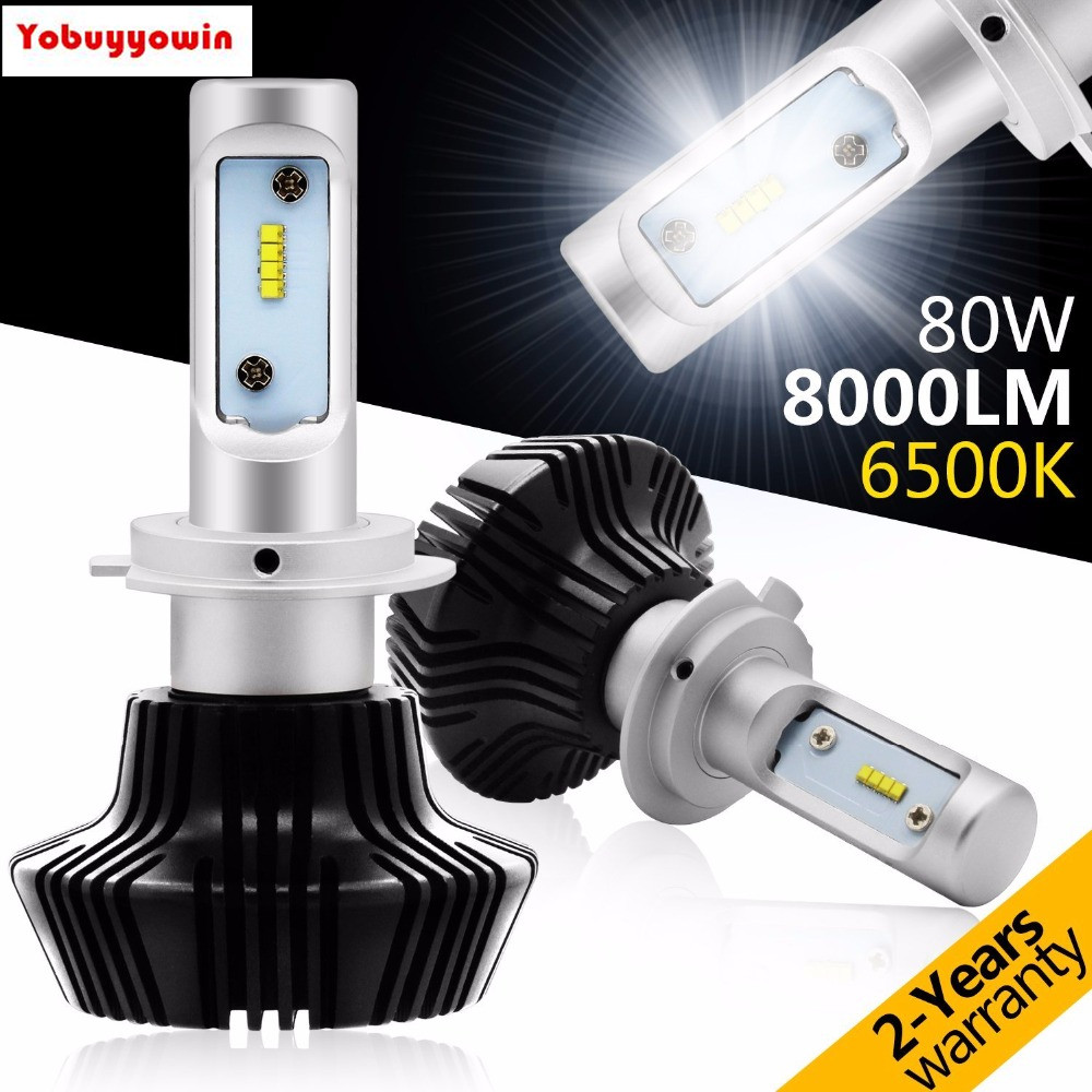 2Pcs H7 PHILIPSled LUMILEDS LED TURBO SUPER BRIGHT 8000LM HEADLIGHTS H7 HEADLIGHTS 8000lm LOW BEAM CAN BUS ERROR FREE VERSION<br>