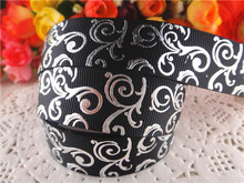 "New arrival 7/8"" (22mm) silver foil grosgrain ribbons black ribbon hair accessories 10 yards SD1123"
