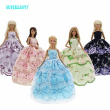 5 Pcs/Lot Handmade High Quality Wedding Party Dress Mix Color Skirt Lace Princess Gown Clothes For Barbie Doll Accessories Toys(China)