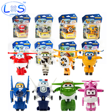(LONSUN)8 Style Korean Anime SuperWings Model Mini Planes toy Transformation Airplane Robot Action Figures  wings toy for baby