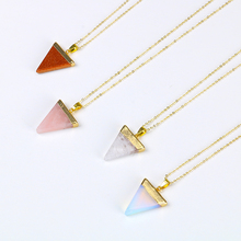 Colorful Triangle Shape Pink stone Crystal Necklace Semi Precious Stone Natural Stone Pendant For Women opal Wholesale Necklace(China)