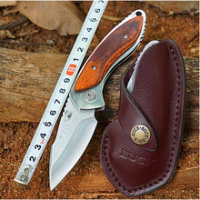 LOKI HOT Buck Folding pocket Knife 12C27M Blade redwood Handle 58HRC Hunting Survival Tactical Outdoor Camping Knife EDC Tools