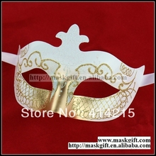 Free Shipping Venetian Handmade Art Plastic Masks White And Gold Venetian Masquerade Party masks A0002-WG