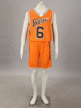 Kuroko no basuke Cosplay Shutoku Midorima Shintarou #6 Basketball Jersey 1st Orange Any Size(China)