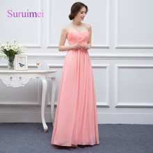 100% Real Photos Pearl Cheap Pink Long Bridesmaid Dresses 2017 Sweetheart Maid Of Honor Gowns Abiye Wedding Bridesmaid Dresses(China)