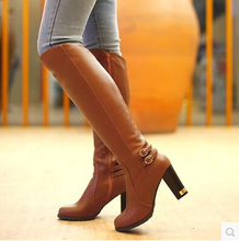2015 plus size 43 woman boots Winter Warm fashion women High-heeled high quality Soft PU zipper Knee-High sexy ladies boots